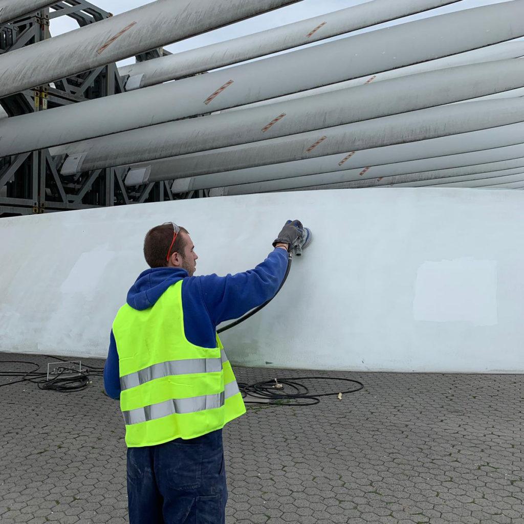 Bild von Arbeit an Windkraftflügel